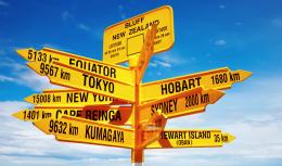Photo montrant différents panneaux vers différentes destinations dans le monde
